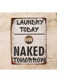 Прикольная металлическая табличка - Стирка сегодня или голый завтра