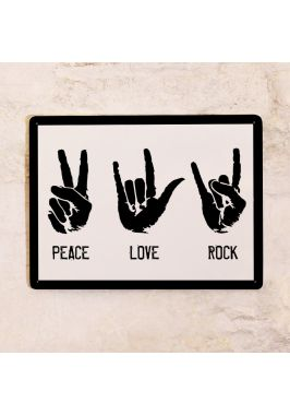 Жестяная табличка Peace-Love-Rock