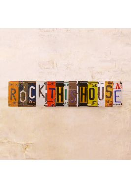 Жестяная табличка Rock this house