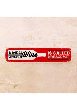 Табличка Еда без вина называется завтрак