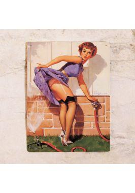 Жестяная табличка Pin up girl 2