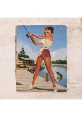 Жестяная табличка Pin up fishing girl