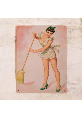 Жестяная табличка Pin up lady